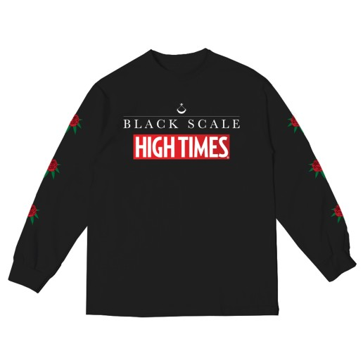 BS X HIGH TIMES - FLOWER LONG SLEEVE BLACK (FRONT)